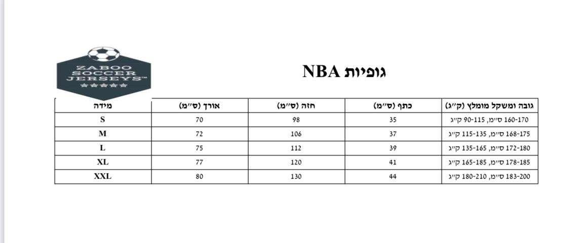 מידות NBA